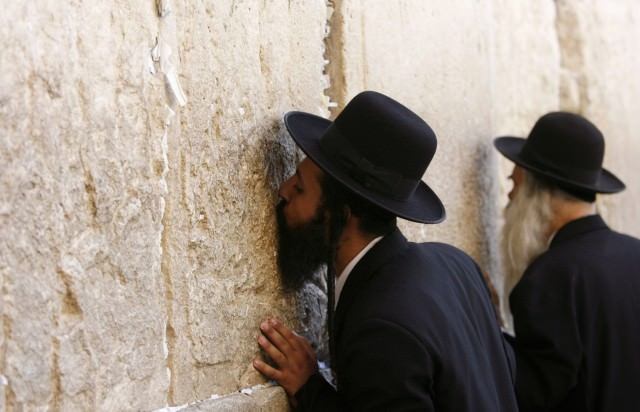 Ultra Orthodox Jews pray at the Western Wall in Jerusalem