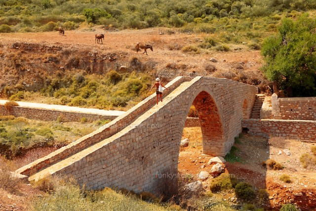 Ancient pack horse bridge at Vlychos , Hydra, Greek Saronic Islands.