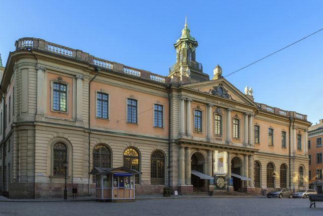 The Stock Exchange Building is a building originally erected for, and is still owned by, the Swedish Academy, located in Gamla stan, the old town in central Stockholm, Sweden.