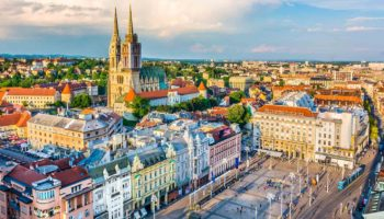 Zagreb aerial view, Croatia capital town.