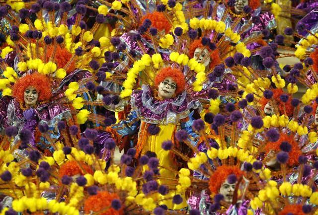 Revellers of the Unidos da Tijuca samba school participate in the annual Carnival parade in Rio
