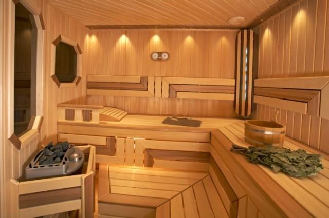 Empty finnish sauna Bucket and Broom