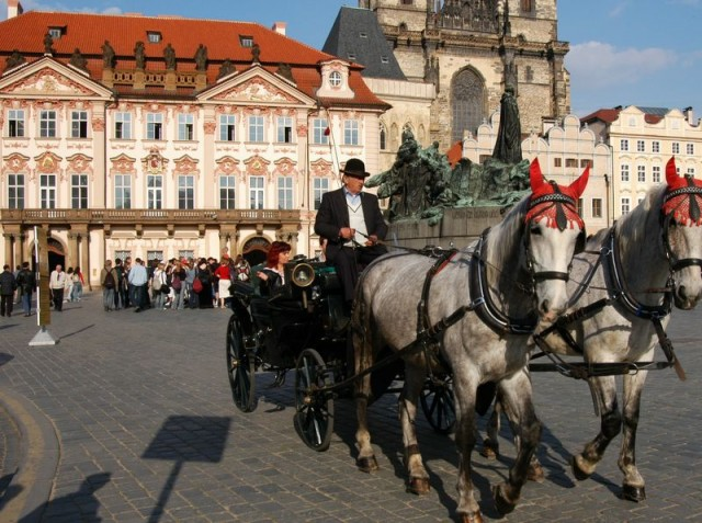 Horse drawn carriage in front of Kinsky Palace