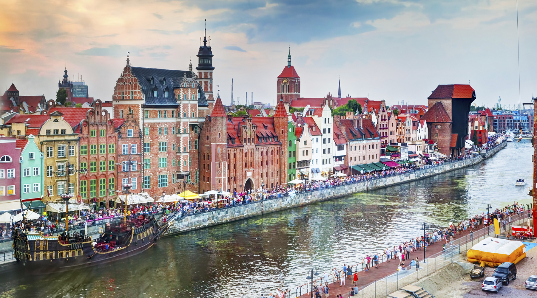 Top view on Gdansk old town and Motlawa river, Poland at sunset.